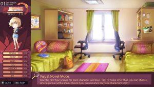 """Capture d'écran de Nicole sur laquelle est présenté le fonctionnement du mode Visual Novel: """"Depuis la version 1.0.6, vous pouvez choisir de jouer en """"mode Visual Novel"""". Si seule l'histoire vous intéresse et vous ne voulez pas jouer avec la gestion de statistiques, essayez le!"""""""