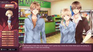 """Nicole se trouve entre deux garçons dans une épicerie. Le texte dit: """"C'est donc ça quand deux personnes se battent pour vous avoir? J'avoue que ça me plaît un peu! Mais ces mecs vont s'entretuer si je ne fais rien"""""""