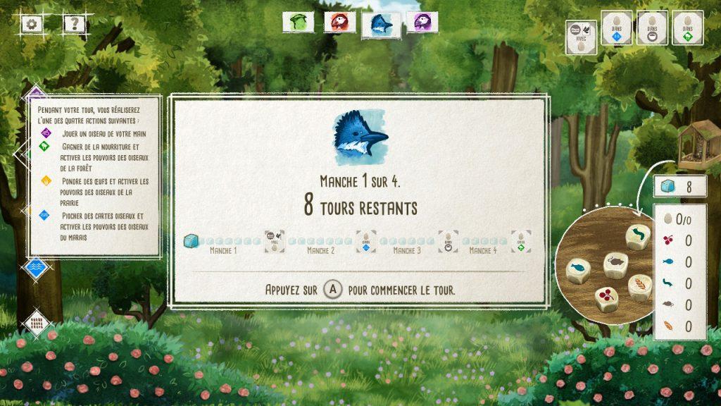 Capture d'écran de Wingspan Switch, on y voit une partie en cours. Le nombre de tours restants est au centre, on voit un texte explicatif expliquant qu'on peut jouer un oiseau ou interagir avec les habitats.