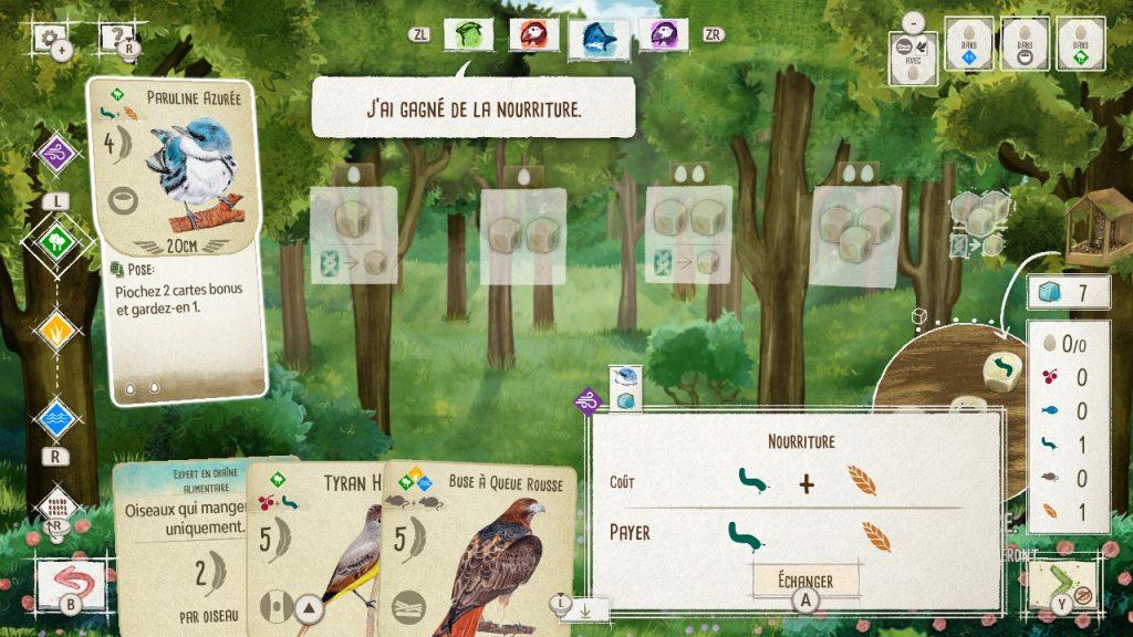 Capture d'écran d'une partie en cours. Une Paruline Azurée est en train d'être jouée dans le premier habitat, on peut voir l'échange de nourriture en cours.