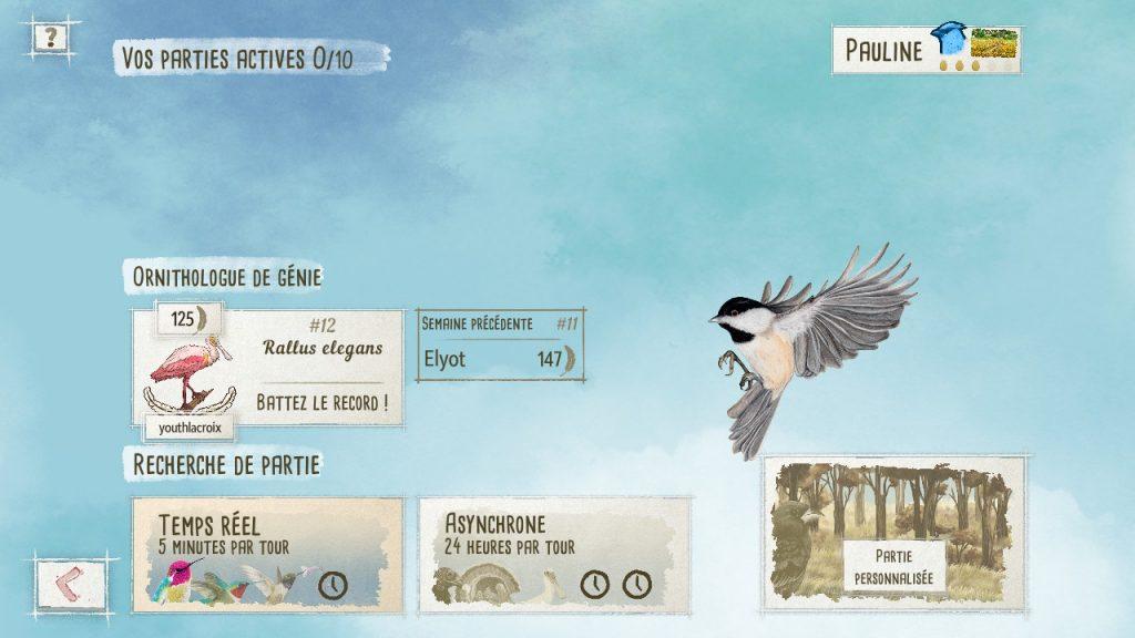 Capture d'écran du menu en ligne de Wingspan. On peut y voir les parties en cours, une rubrique Ornithologue de génie et une catégorie Recherche de partie (temps réel, asynchrone ou partie personnalisée).