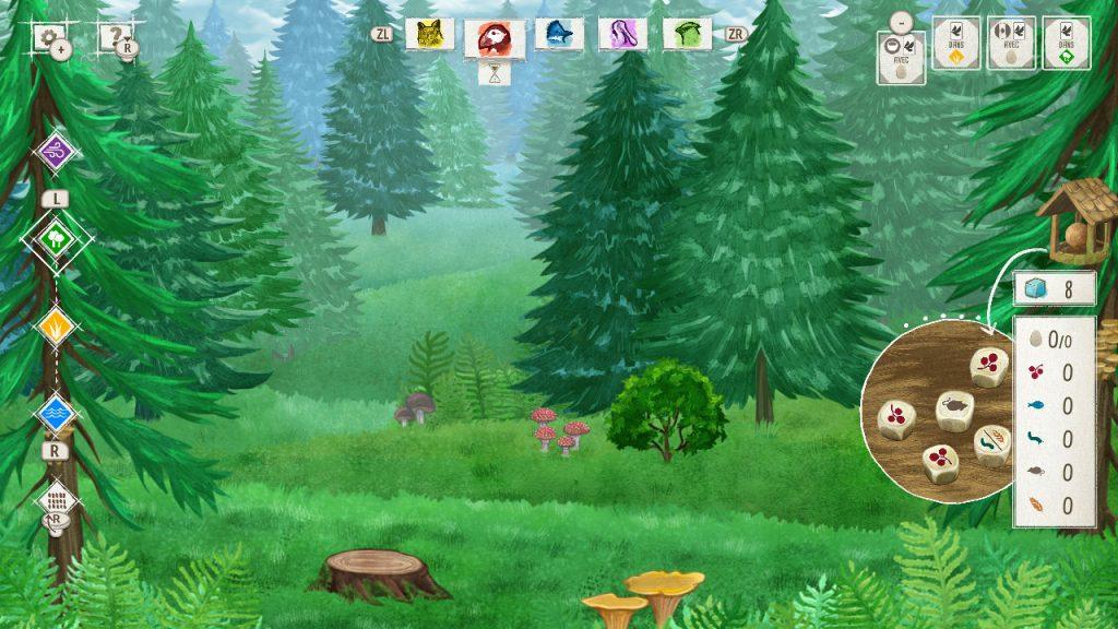 On voit une partie en cours. On voit le paysage du premier habitat, aucune carte n'est à l'écran car la partie vient de débuter.