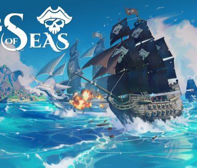 Bannière du jeu King of Seas. Le titre est indiqué en haut à gauche, et on peut voir une scène modélisée en 3D. Deux bateaux s'affrontent : au premier plan, un bateau pirate; au second plan, un bateau de la marine royale.