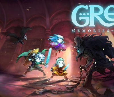 Bannière du jeu Greak : Memories of Azur. Le titre est écrit en haut à droite. Au premier plan, on voit de part et d'autre de l'écran un monstre à cornes tenant dans ses mains une chaîne ainsi qu'une chauve souris. Derrière, la mise au point est faite sur Greak, Adara et Raydel, en position de combat.